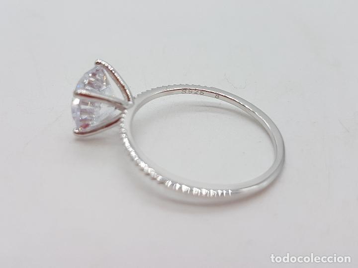 Joyeria: Precioso anillo solitario tipo pedida en plata de ley, pave de circonitas y circonita talla diamante - Foto 6 - 145010484