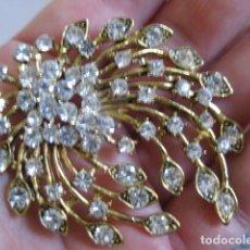 Jewelry - SIN USO 80'S GRAN BROCHE DE MARCA DORADO CRISTAL STRASS BRILLANTES CIERRE SEGURIDAD BOUQUET CASCADA - 112065691