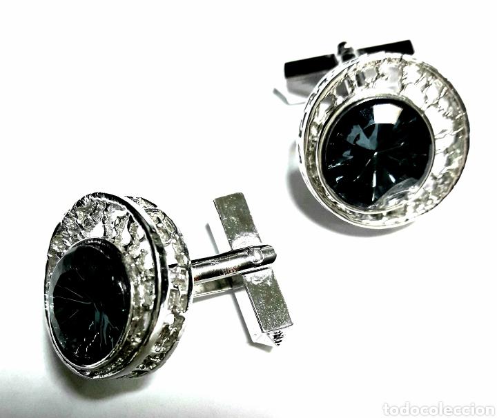 Joyeria: Gemelos plateados y con piedra azul - Foto 2 - 104996534