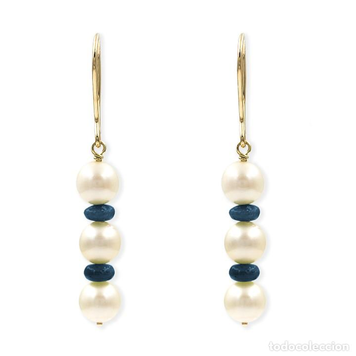 Joyeria: Pendientes Zafiros y Perlas en Oro de Ley 18k - Foto 2 - 112401299