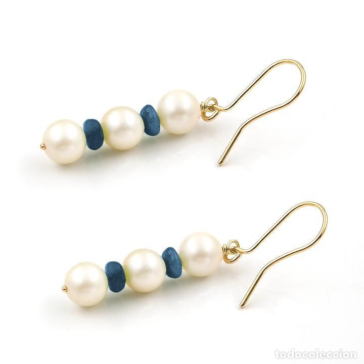 Joyeria: Pendientes Zafiros y Perlas en Oro de Ley 18k - Foto 4 - 112401299