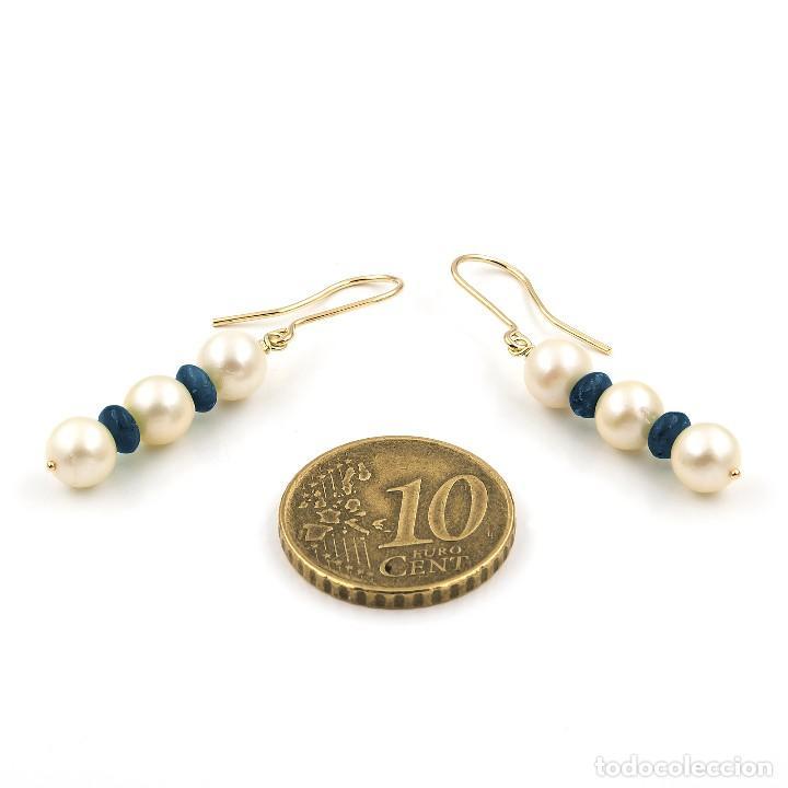 Joyeria: Pendientes Zafiros y Perlas en Oro de Ley 18k - Foto 5 - 112401299