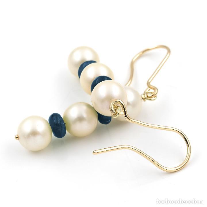 Joyeria: Pendientes Zafiros y Perlas en Oro de Ley 18k - Foto 6 - 112401299