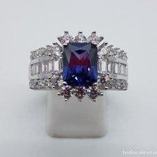 Jewelry - Espectacular anillo tipo emperatriz en plata de ley, zafiro, circonitas talla brillante y baguette . - 112466795