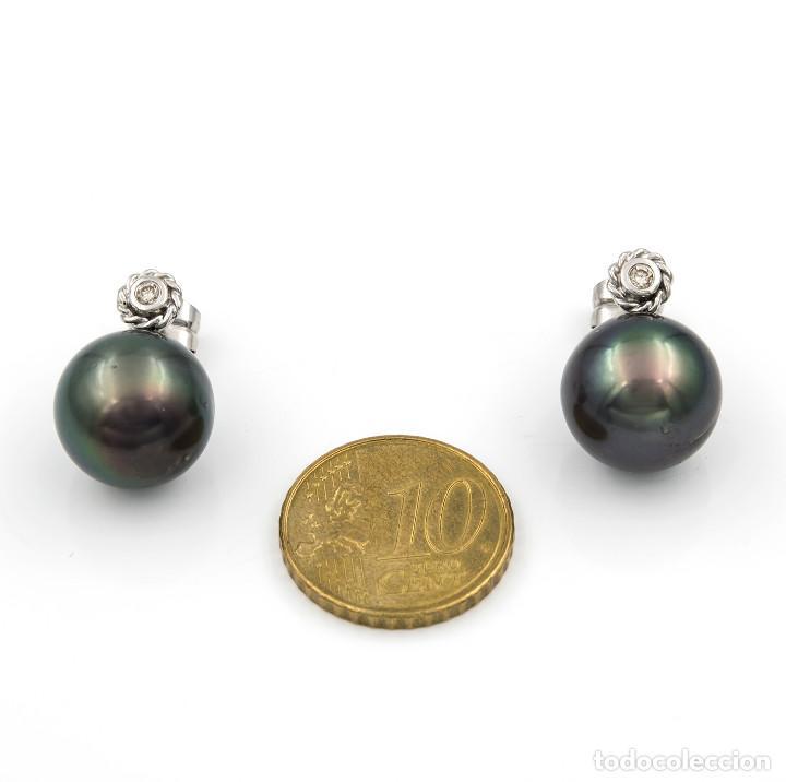 Joyeria: Pendientes Oro blanco 18kt con Brillantes engastados en chatón con Perlas de Tahití - Foto 5 - 112975235