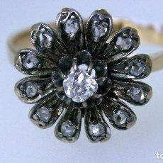 Anillo oro 18 ct y plata diamantes 0.12 ct 0.18 ct - 3.90 g - nº 16 - ajuste de tamaño gratuito