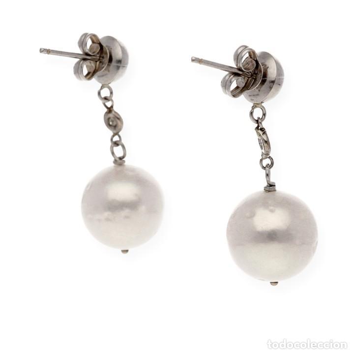Joyeria: Pendientes largos con Bola Oro blanco, Brillantes y Perlas cultivadas - Foto 4 - 113149467