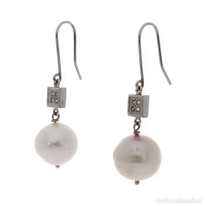 Joyeria: Pendientes largos Oro blanco con Brillantes y Perlas cultivadas de 12mm - Foto 2 - 113150311