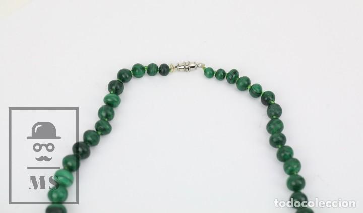 Joyeria: Collar de Cuentas Esféricas de Malaquita - Verde Esmeralda con Vetas - Largo 48 cm - Foto 2 - 113578619