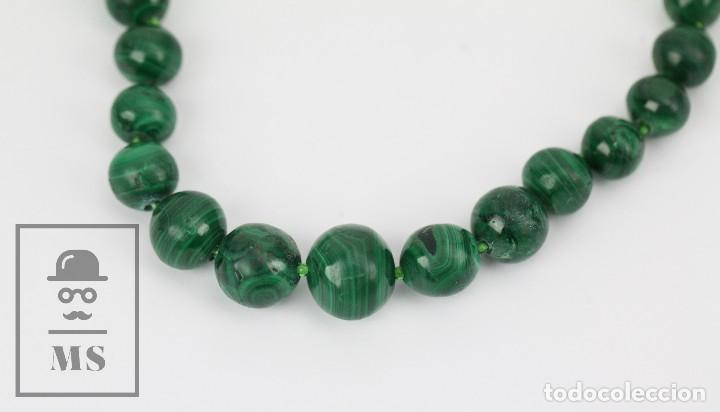 Joyeria: Collar de Cuentas Esféricas de Malaquita - Verde Esmeralda con Vetas - Largo 48 cm - Foto 3 - 113578619