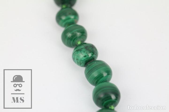 Joyeria: Collar de Cuentas Esféricas de Malaquita - Verde Esmeralda con Vetas - Largo 48 cm - Foto 6 - 113578619
