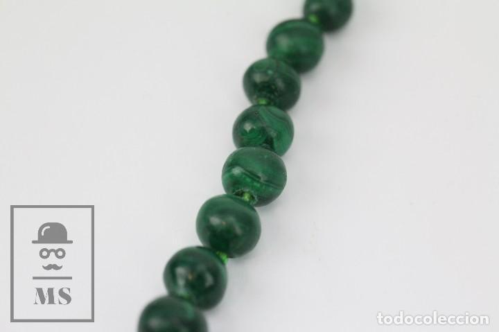 Joyeria: Collar de Cuentas Esféricas de Malaquita - Verde Esmeralda con Vetas - Largo 48 cm - Foto 7 - 113578619