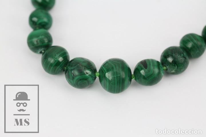 Joyeria: Collar de Cuentas Esféricas de Malaquita - Verde Esmeralda con Vetas - Largo 48 cm - Foto 8 - 113578619