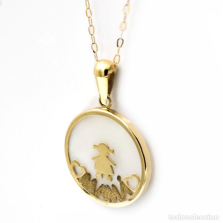 Joyeria: Gargantilla con Colgante Oro amarillo con Nácar con motivo niña e inscripción de Mamá - Foto 3 - 113751779