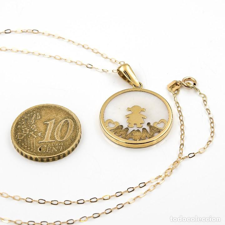 Joyeria: Gargantilla con Colgante Oro amarillo con Nácar con motivo niña e inscripción de Mamá - Foto 5 - 113751779