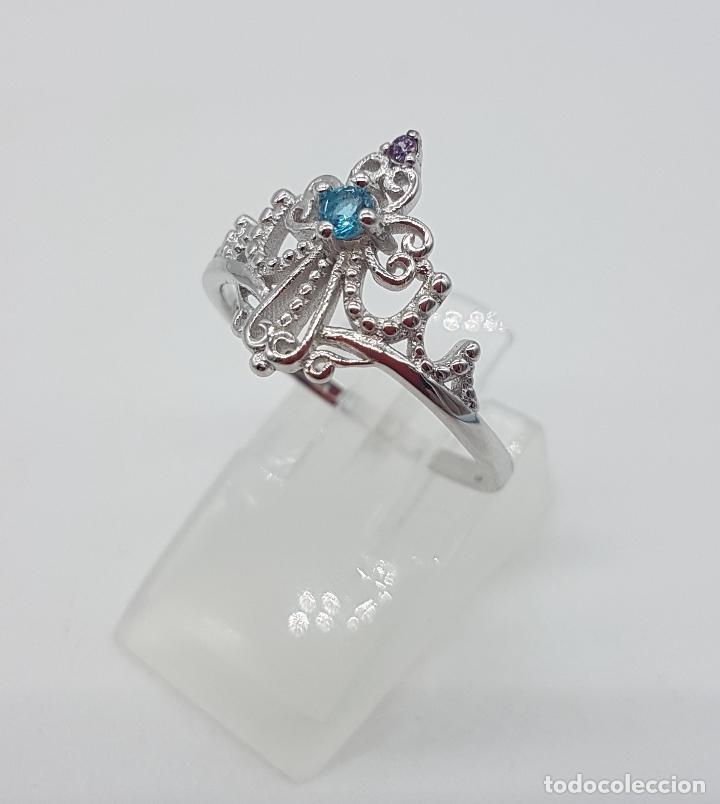 Joyeria: Bella sortija simulando una diadema o corona real en plata de ley, amatista y aguamarina . - Foto 2 - 113941483