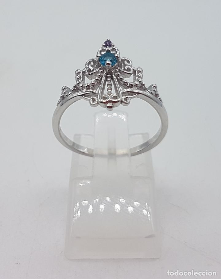 Joyeria: Bella sortija simulando una diadema o corona real en plata de ley, amatista y aguamarina . - Foto 3 - 113941483