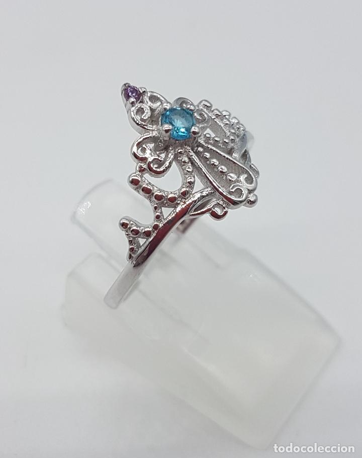 Joyeria: Bella sortija simulando una diadema o corona real en plata de ley, amatista y aguamarina . - Foto 4 - 113941483