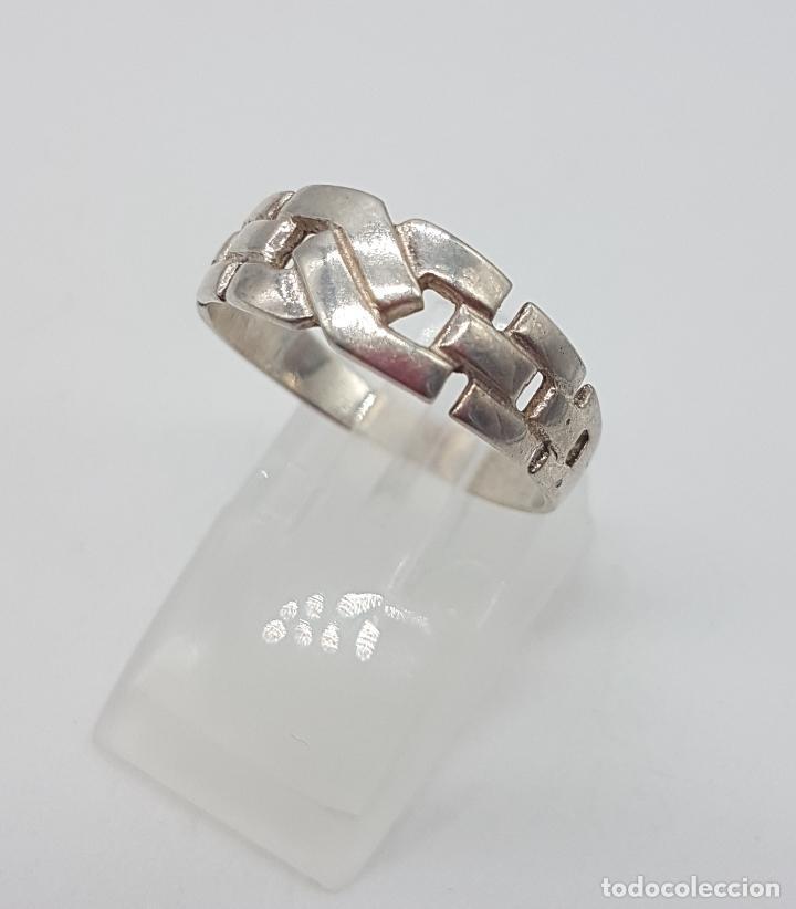Joyeria: Anillo vintage simulando cadena de estilo clásico en plata de ley punzonada . - Foto 2 - 113952219