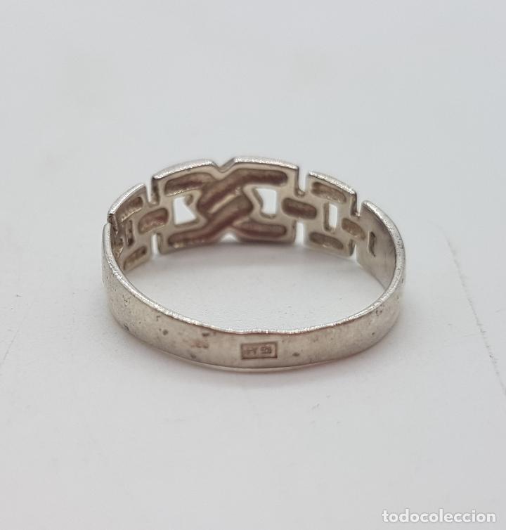 Joyeria: Anillo vintage simulando cadena de estilo clásico en plata de ley punzonada . - Foto 5 - 113952219