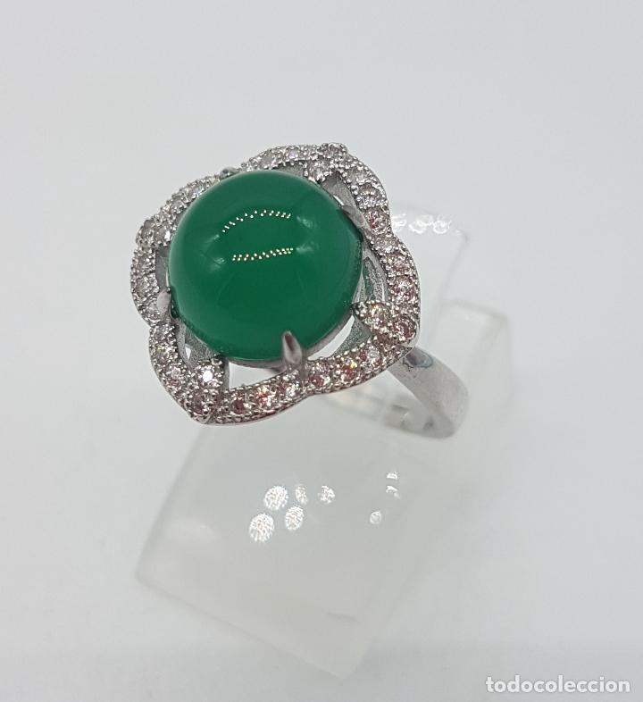 Joyeria: Sortija de estilo vintage en plata de ley contrastada, circonitas talla brillante, cabujón de jade . - Foto 2 - 132243975