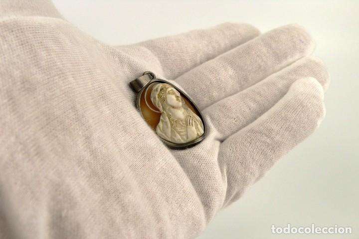 Joyeria: Colgante montura de plata con camafeo tallado en concha o madreperla - Mediados S.XX - Foto 2 - 144960186