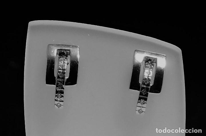 Joyeria: BONITOS PENDIENTES ORO BLANCO 18K CON 14 BRILLANTES 0,20CT - Foto 2 - 114680975
