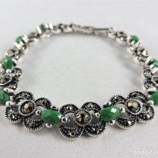 Jewelry - PULSERA EN PLATA CON AGATAS VERDES Y MARCASITAS ESTILO ANTIGUA - 122159127