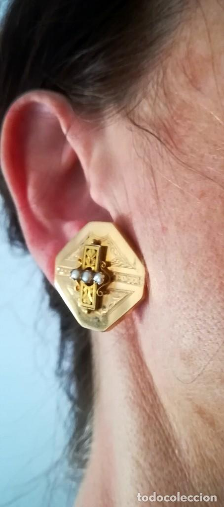 Joyeria: Pendientes S.XIX principios realizados en oro de 18k y perlas - Foto 2 - 114829987