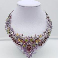 Schmuck - Impresionante gargantilla de estilo imperio en plata de ley, rubíes, amatistas, aguamarinas, citrino - 115327427