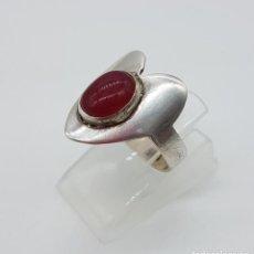 Jewelry - Anillo antiguo en plata de ley contrastada y cabujón de ágata roja . - 115364591