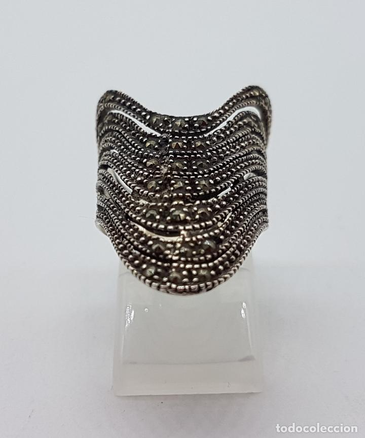 Joyeria: Gran anillo vintage en plata de ley contrastada y marquesitas talla brillante . - Foto 3 - 115377187