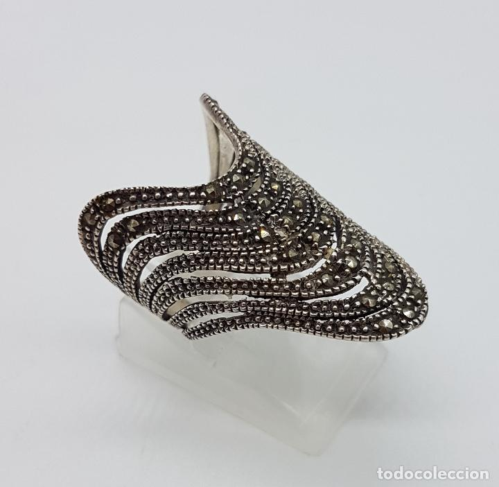 Joyeria: Gran anillo vintage en plata de ley contrastada y marquesitas talla brillante . - Foto 4 - 115377187