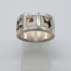Jewelry - Anillo vintage en plata de ley contrastada y aplicaciones de concha jaguar . - 115379451
