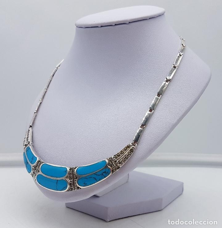 Joyeria: Bella gargantilla vintage en plata de ley con incrustaciones de turquesa auténtica y marquesitas . - Foto 2 - 115963747