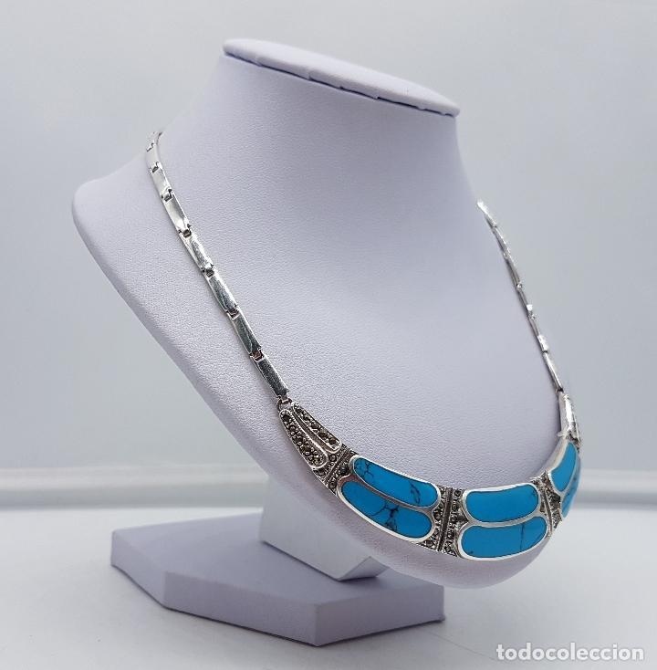 Joyeria: Bella gargantilla vintage en plata de ley con incrustaciones de turquesa auténtica y marquesitas . - Foto 4 - 115963747