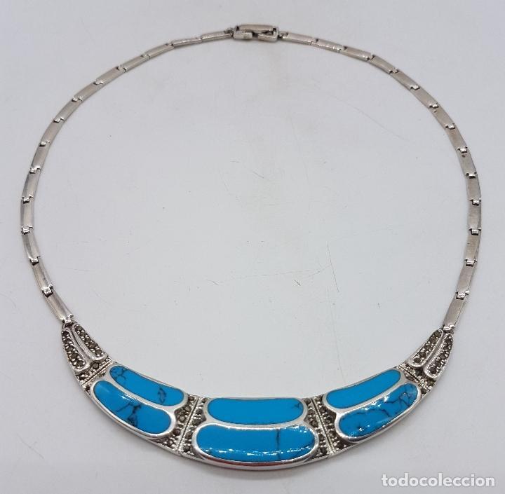 Joyeria: Bella gargantilla vintage en plata de ley con incrustaciones de turquesa auténtica y marquesitas . - Foto 5 - 115963747