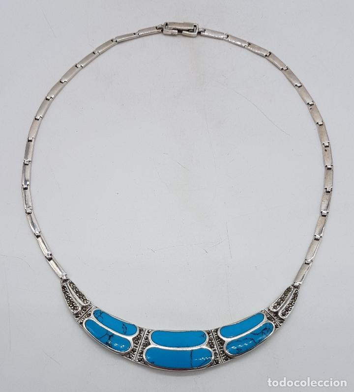 Joyeria: Bella gargantilla vintage en plata de ley con incrustaciones de turquesa auténtica y marquesitas . - Foto 6 - 115963747