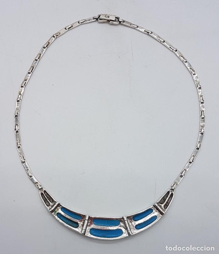 Joyeria: Bella gargantilla vintage en plata de ley con incrustaciones de turquesa auténtica y marquesitas . - Foto 7 - 115963747