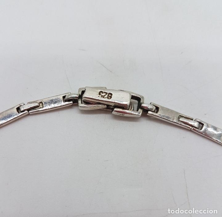 Joyeria: Bella gargantilla vintage en plata de ley con incrustaciones de turquesa auténtica y marquesitas . - Foto 8 - 115963747