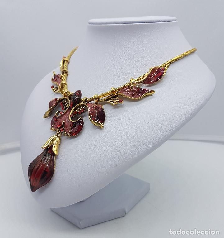 Joyeria: Bella gargantilla de estilo modernista con acabado en oro viejo, esmaltes al fuego y símil de ámbar - Foto 2 - 162034168