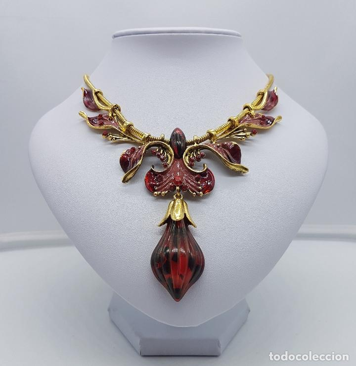 Joyeria: Bella gargantilla de estilo modernista con acabado en oro viejo, esmaltes al fuego y símil de ámbar - Foto 3 - 162034168
