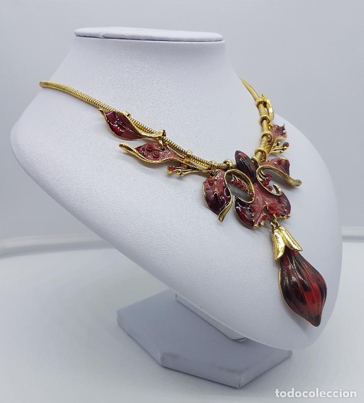 Joyeria: Bella gargantilla de estilo modernista con acabado en oro viejo, esmaltes al fuego y símil de ámbar - Foto 4 - 162034168