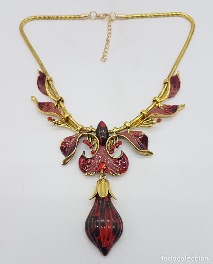 Joyeria: Bella gargantilla de estilo modernista con acabado en oro viejo, esmaltes al fuego y símil de ámbar - Foto 5 - 162034168