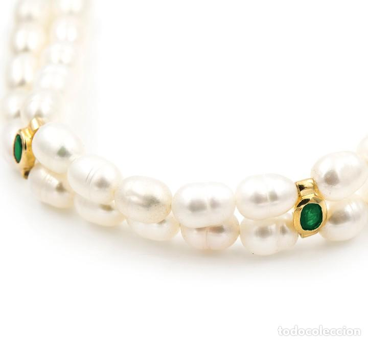Joyeria: Pulsera Esmeraldas y Perlas cultivadas en Oro de Ley 18k - Foto 3 - 116058215