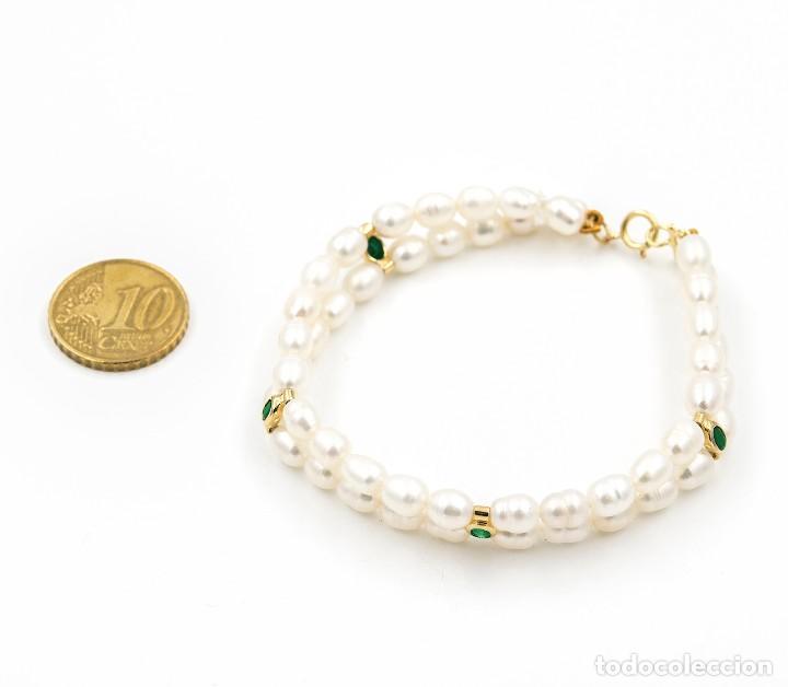 Joyeria: Pulsera Esmeraldas y Perlas cultivadas en Oro de Ley 18k - Foto 4 - 116058215