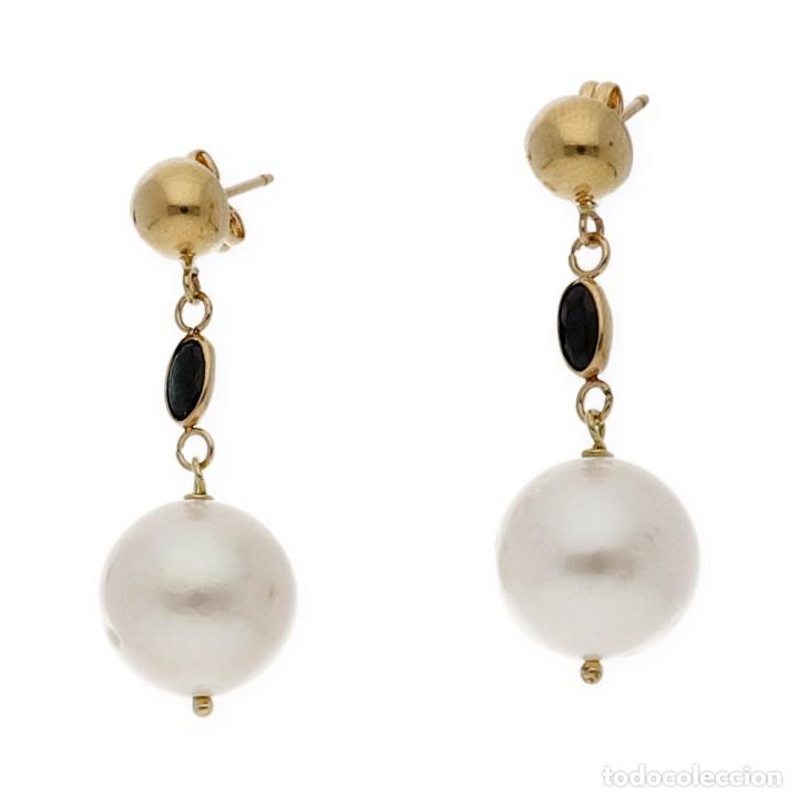 Joyeria: Pendientes Zafiros y Perlas en Oro de Ley 18k - Foto 2 - 116059315