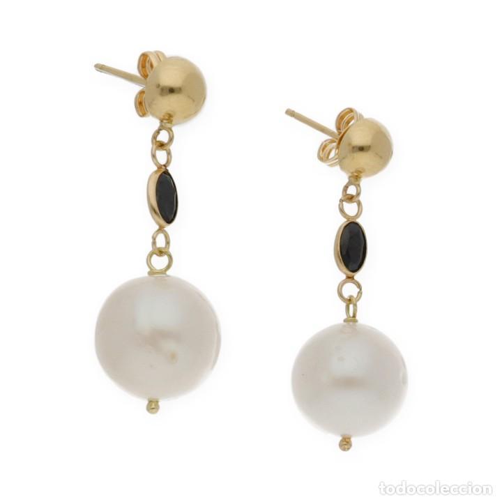 Joyeria: Pendientes Zafiros y Perlas en Oro de Ley 18k - Foto 3 - 116059315