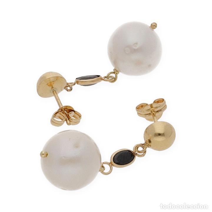 Joyeria: Pendientes Zafiros y Perlas en Oro de Ley 18k - Foto 4 - 116059315