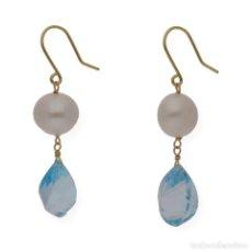 Joyeria - Pendientes Perlas y Topacio Azul en Oro de Ley 18k - 116059531